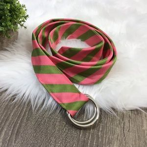 J. Crew | Silk Ribbon Belt Green Pink
